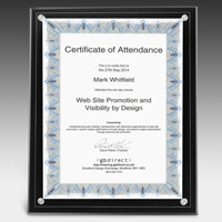 "Large Certificate Holder - Clear on Black - 8"" x 10"" Insert"